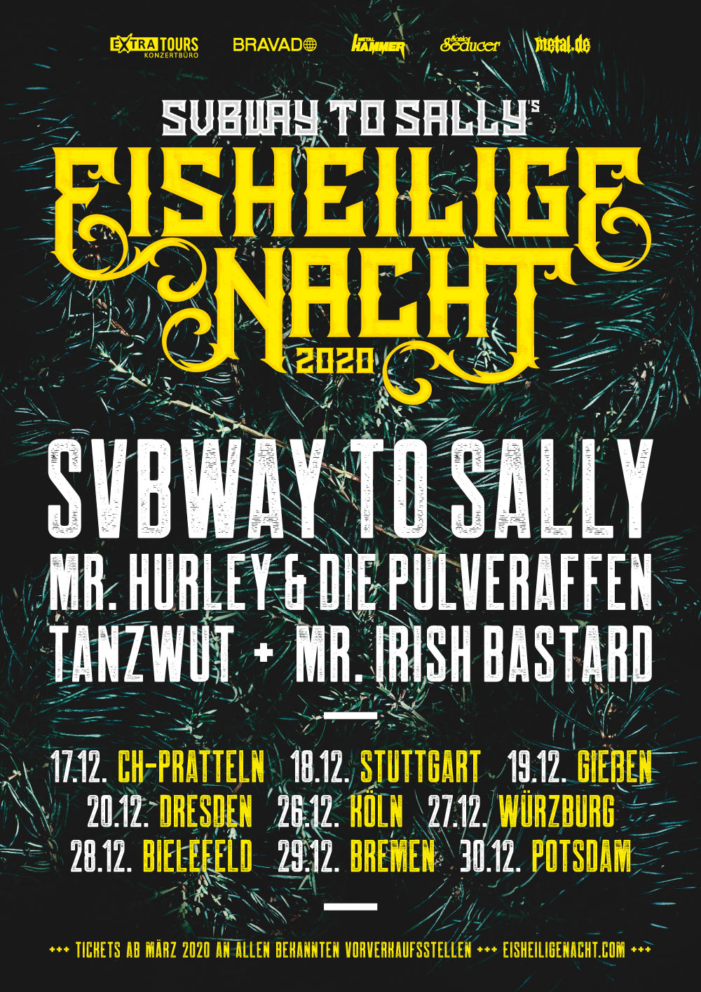 Eisheilige Nacht 2020 mit Subway to Sally, Mr. Hurley & Die Pulveraffen, Tanzwut und Mr. Irish Bastard
